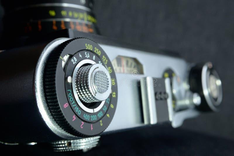 Sovjet mechanische SLR-cameramening van hierboven royalty-vrije stock afbeelding