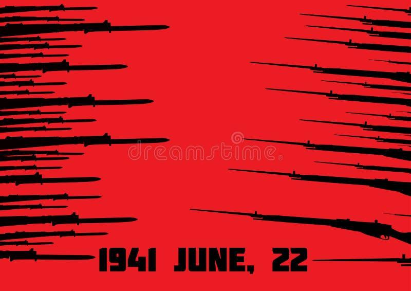 Sovjet och tysk plundrar på den röda bakgrunden arkivfoton