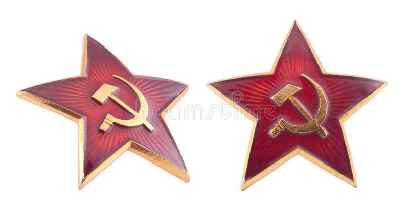 Sovjet rood sterkenteken met het knippen van weg stock fotografie