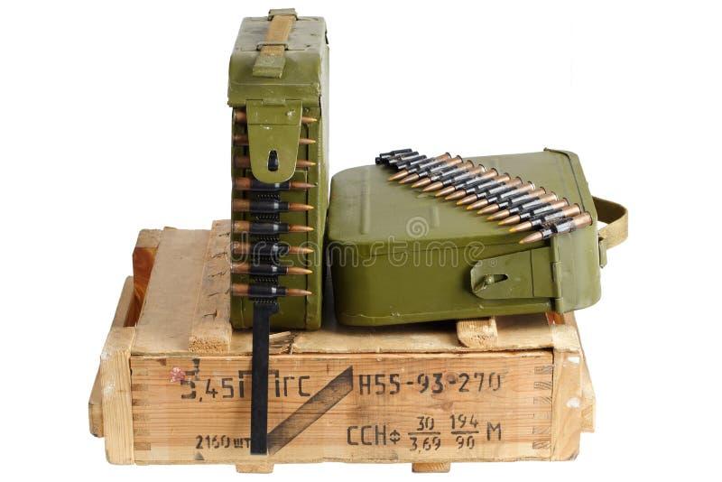 Sovjetisk arm?ammunitionask Text i ryss - typ av ammunitionar arkivbild