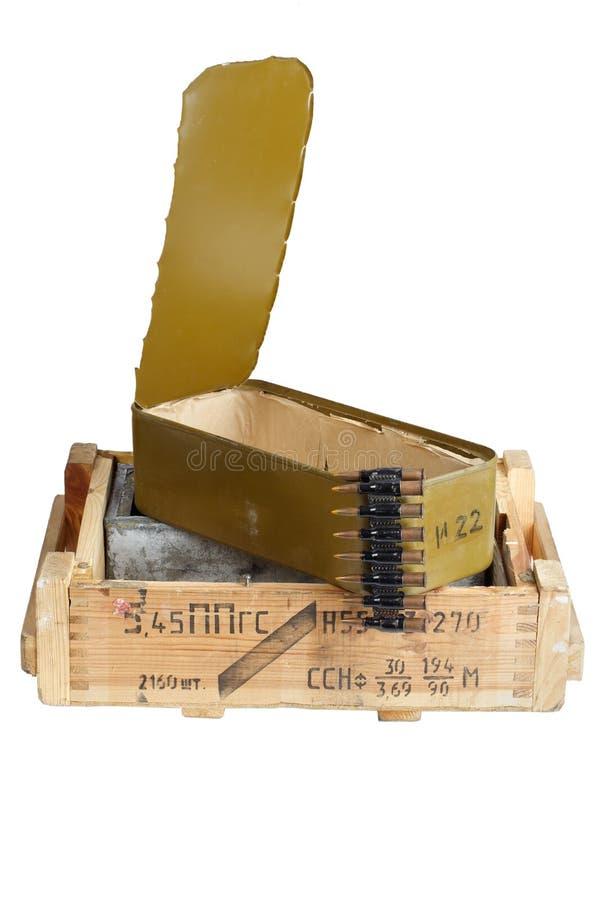 Sovjetisk arm?ammunitionask Text i ryss - typ av ammunitionar royaltyfri fotografi