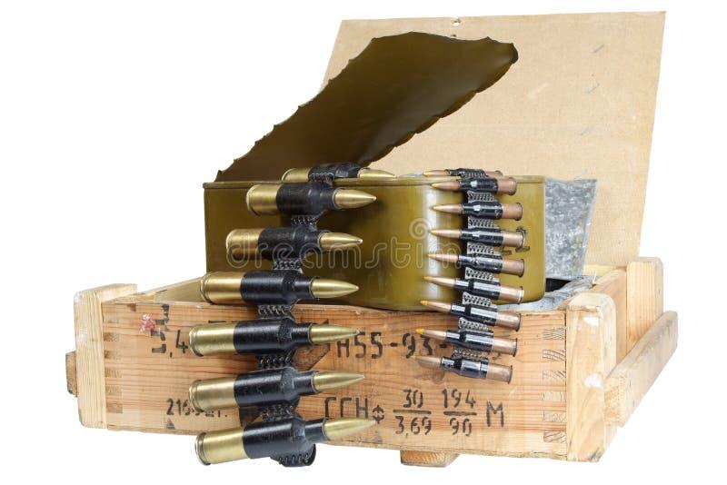 Sovjetisk arm?ammunitionask Text i ryss - typ av ammunitionar fotografering för bildbyråer