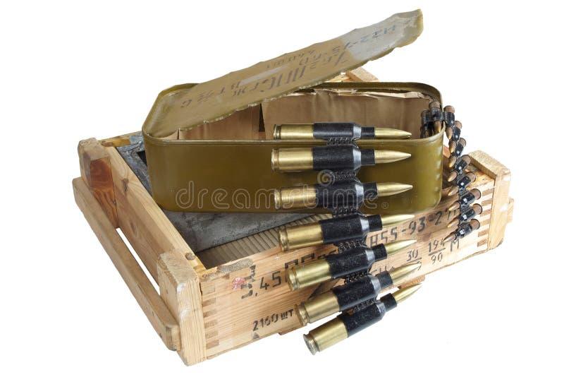 Sovjetisk arm?ammunitionask Text i ryss - typ av ammunitionar royaltyfri bild