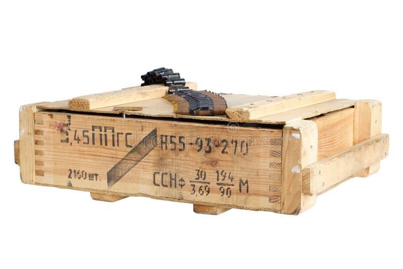 Sovjetisk arm?ammunitionask Text i ryss - typ av ammunitionar royaltyfri foto