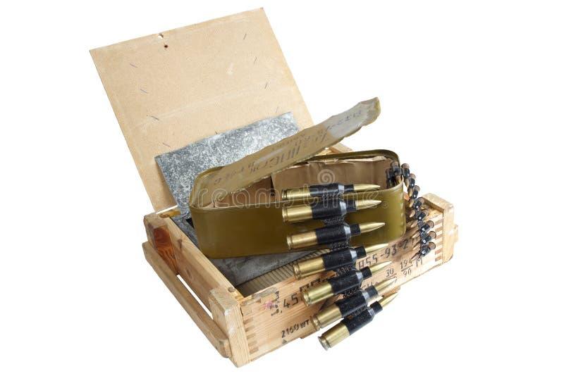 Sovjetisk arm?ammunitionask Text i ryss - typ av ammunitionar royaltyfria bilder