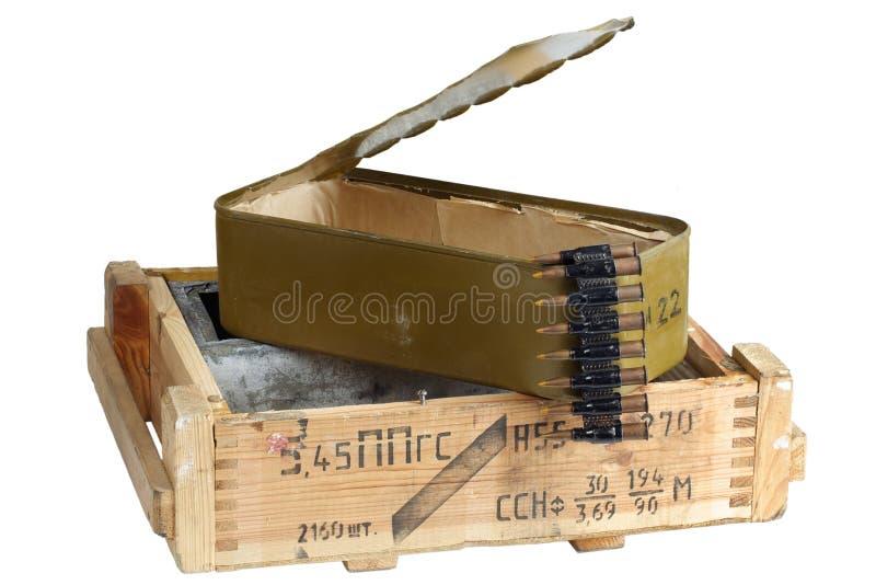 Sovjetisk arm?ammunitionask Text i ryss - typ av ammunitionar royaltyfria foton