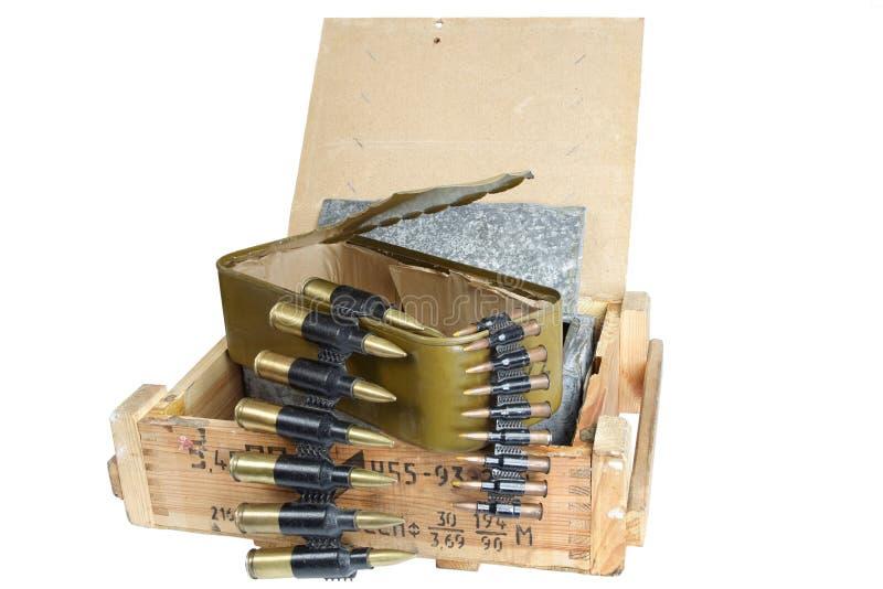 Sovjetisk arm?ammunitionask Text i ryss - typ av ammunitionar arkivfoto