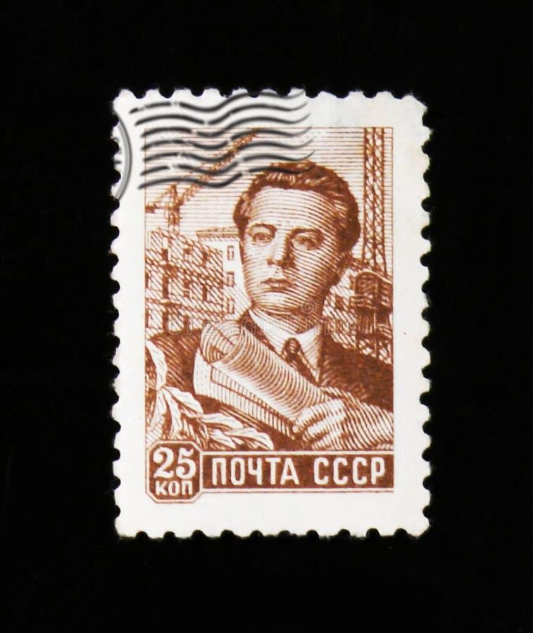 Sovjetisk tekniker, konstruktör, byggmästare, circa 1956 royaltyfri bild