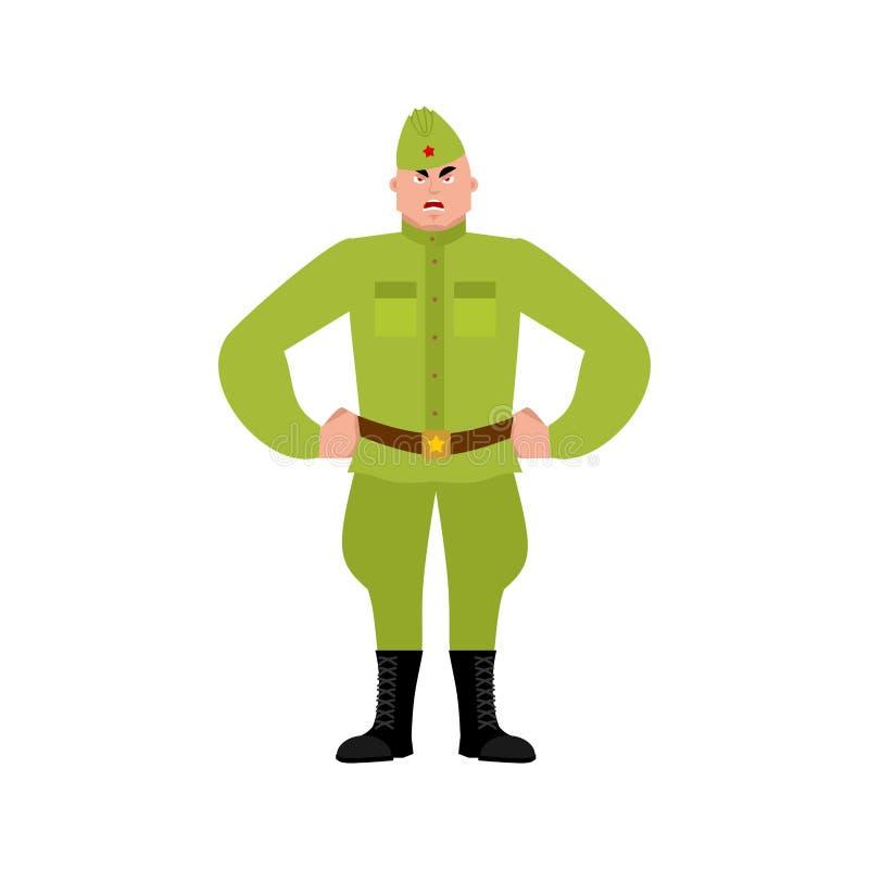 Sovjetmilitair boze emoji Retro Russische strijders kwade emoties vector illustratie