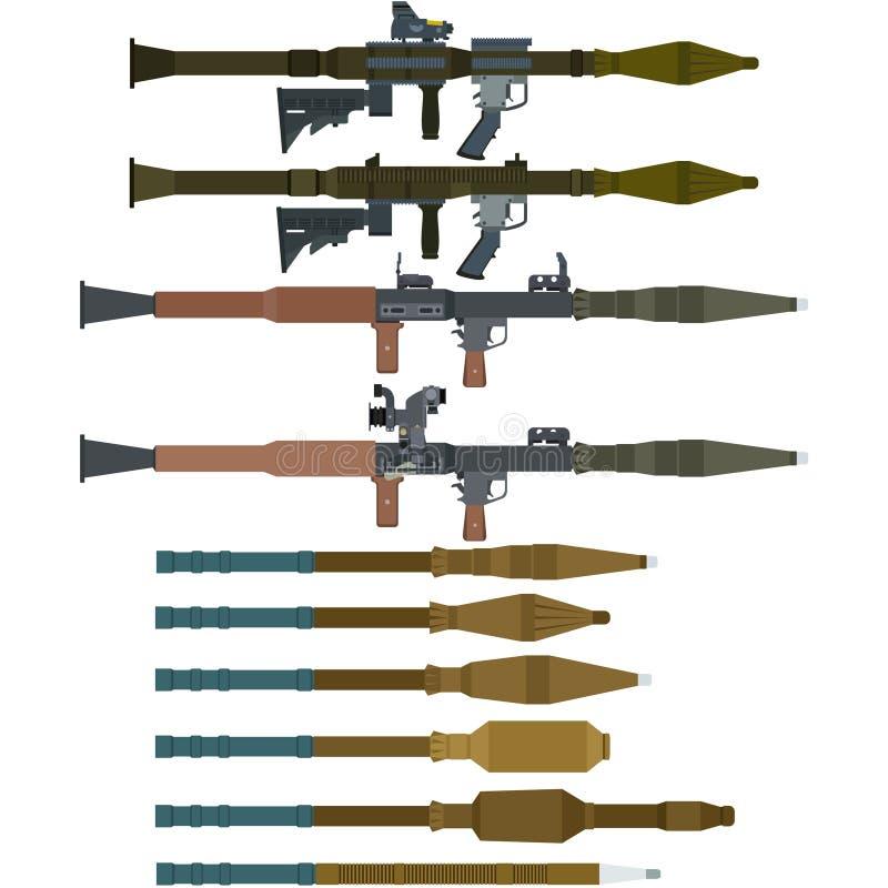 Sovjetraketlanceerders en granaten voor rpg-7 royalty-vrije illustratie