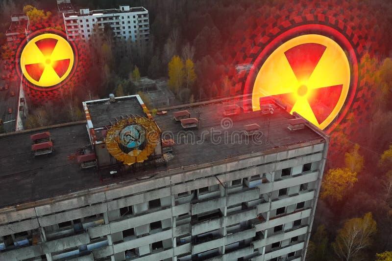 Sovjetwapenschild op een gebouw in Pripyat royalty-vrije stock afbeelding