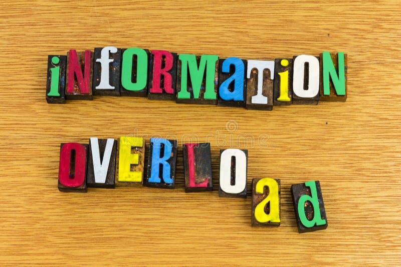 Sovraccarico di informazioni che impara scritto tipografico immagini stock