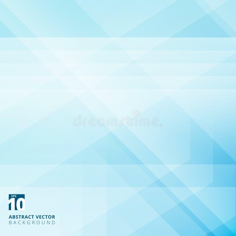 Sovrapposizione geometrica astratta su fondo blu con lo stri diagonale illustrazione di stock
