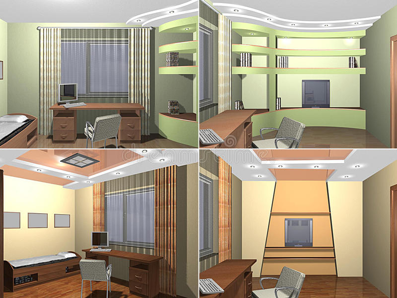 sovrum för 3D Childs royaltyfri illustrationer