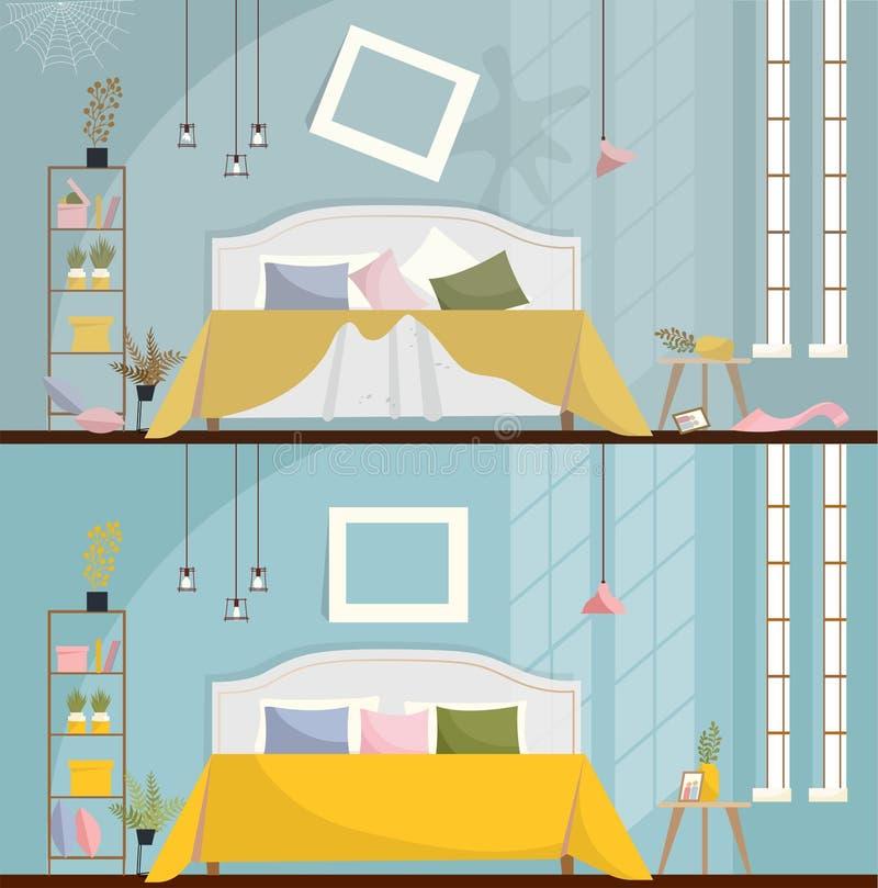 Sovrum före och efter som gör ren Smutsigt rum som är inre med spridda möblemang och objekt Sovruminre med en säng, royaltyfri illustrationer