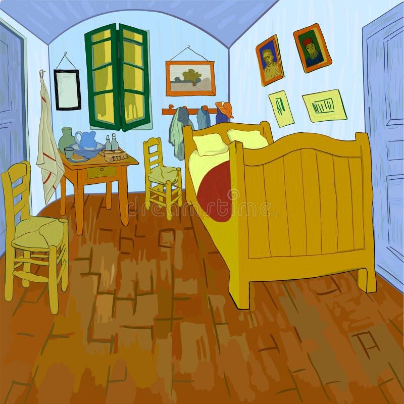 Sovrum i Arles stock illustrationer