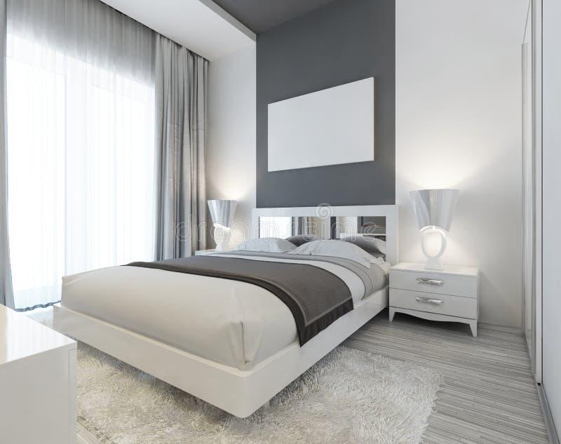 Sovrum i Art Deco stil i vit- och grå färgfärger royaltyfri illustrationer