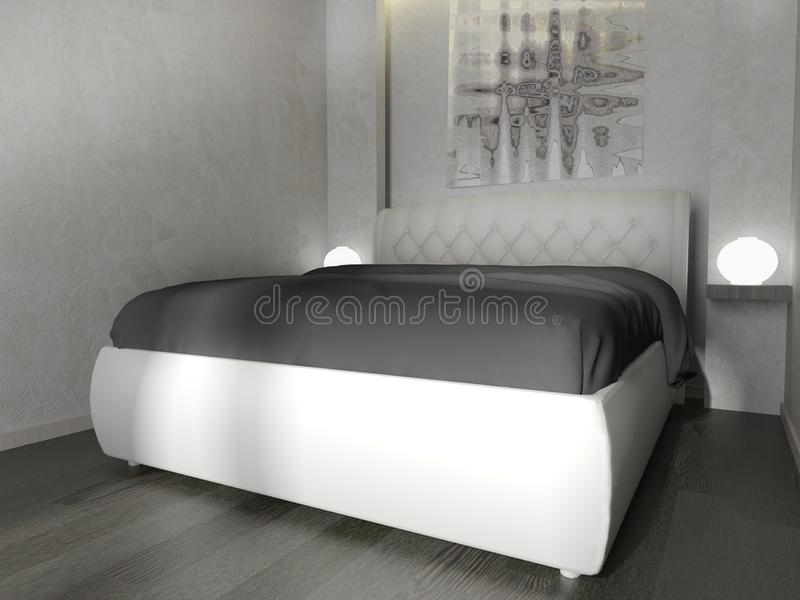 Sovrum i en modern inre i ljusa färger tolkning för 3 D royaltyfri illustrationer