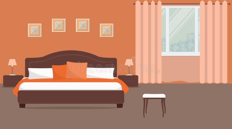 Sovrum i orange färg stock illustrationer