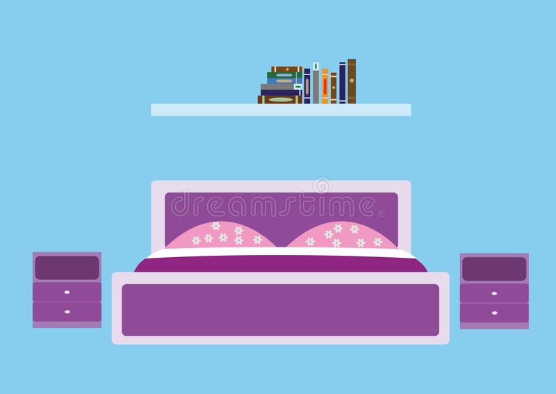 Sovrum i violetta signaler royaltyfri foto