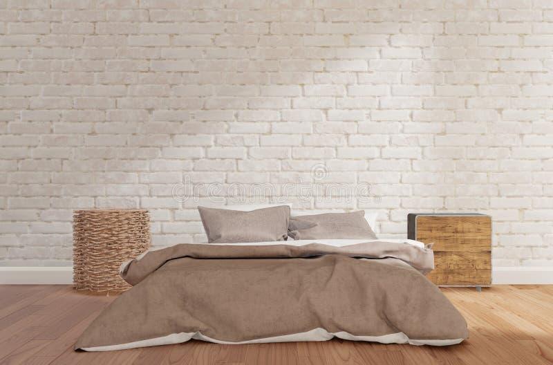 Sovrum med den vita tegelstenväggen, trägolv, kabinett, lampa som är falsk upp royaltyfri illustrationer