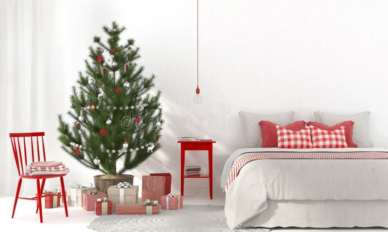 Sovrum med röda garneringar och julgranen vektor illustrationer