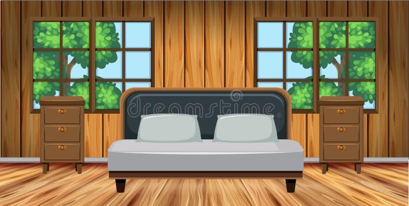Sovrum med trämöblemang royaltyfri illustrationer