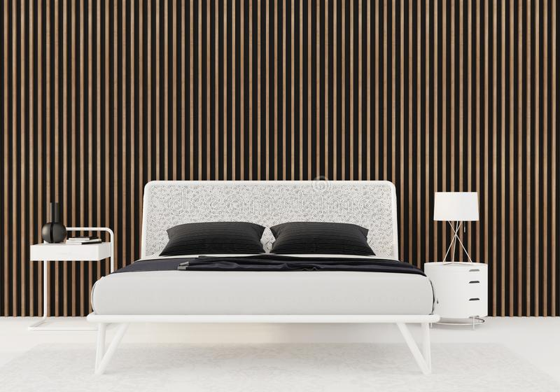 Sovrum med träslats på väggen royaltyfri illustrationer