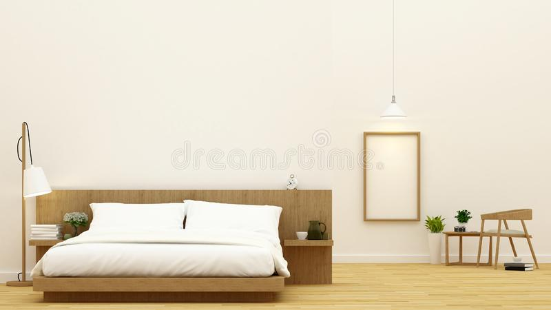 Sovrum och matsal för andelslägenhet- och hotelldesignen - tolkning 3d royaltyfria foton