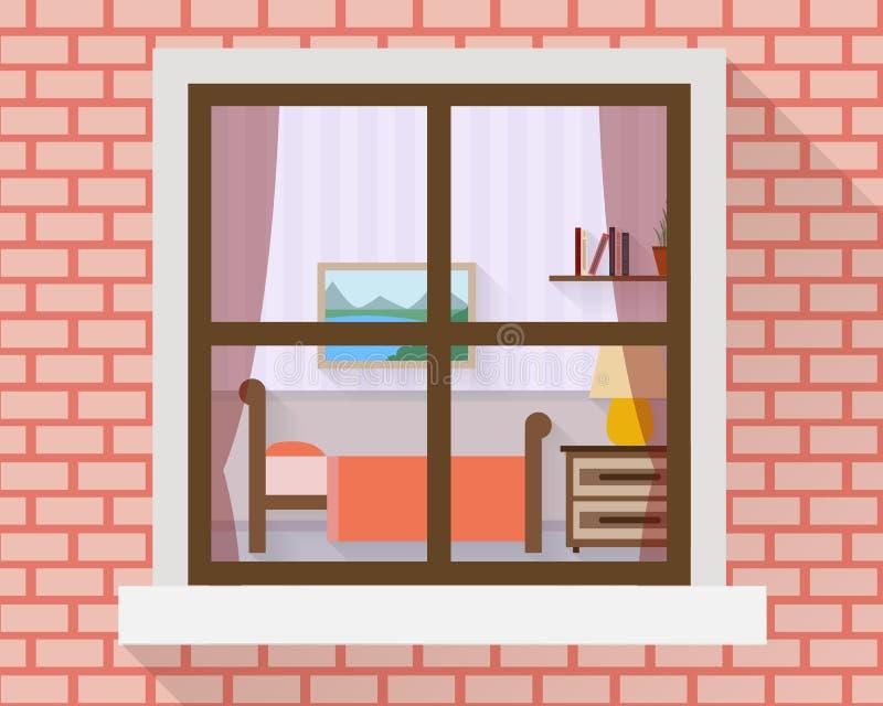 Sovrum till och med fönstret stock illustrationer