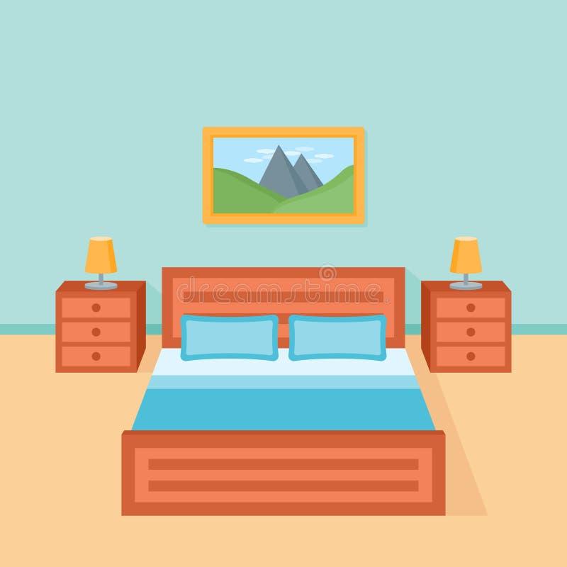 Sovruminre med säng, nightstand och lampan vektor illustrationer