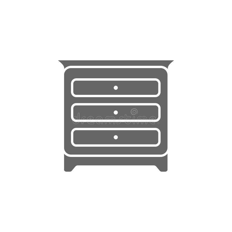 Sovrumkabinettsymbol Enkel beståndsdelillustration För symboldesign för sovrum kabinett mall Kan användas för rengöringsduk och m vektor illustrationer