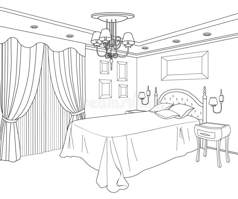Sovrummöblemang Redigerbar illustration Hous design stock illustrationer
