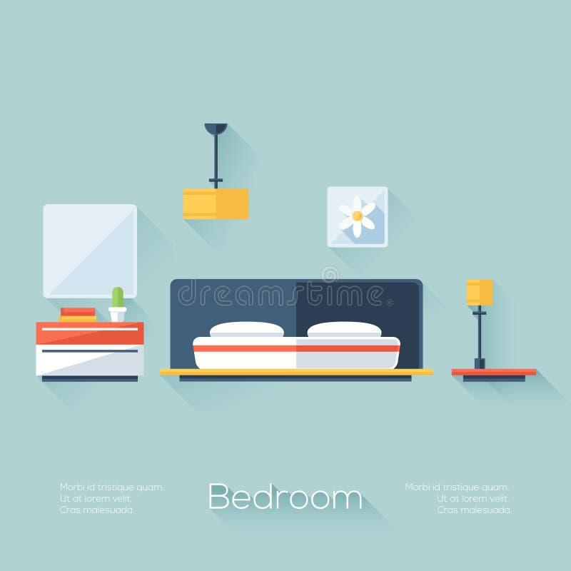 Sovrumräkning med lampan, ljuskronan och Nightstand Plan stil med långa skuggor Modern moderiktig design royaltyfri illustrationer