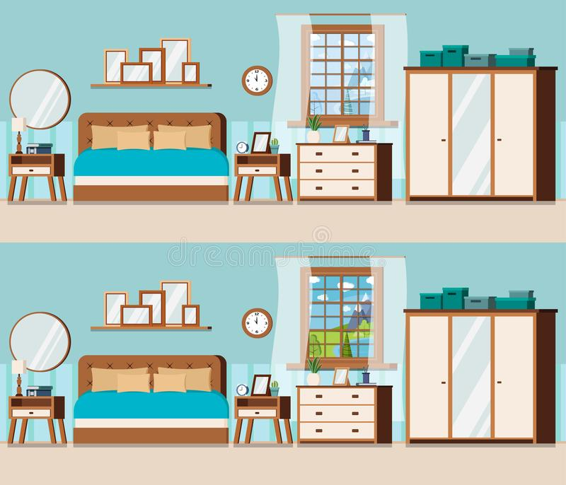 Sovrumuppsättning med möblemang- och fönstersikt av vinter- och sommarsjölandskapet stock illustrationer