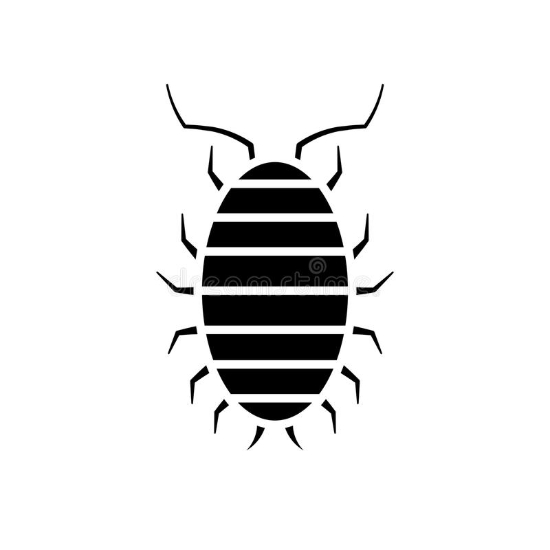 Sow bug icon. Pest control clipart isolated on white background stock illustration