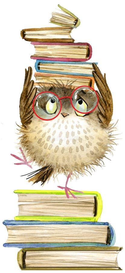 sowa śliczna sowa akwarela lasu ptak szkolnych książek ilustracja Kreskówka ptak royalty ilustracja