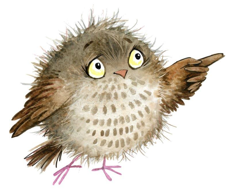 sowa śliczna sowa Szkolna ilustracja Kreskówka ptak royalty ilustracja