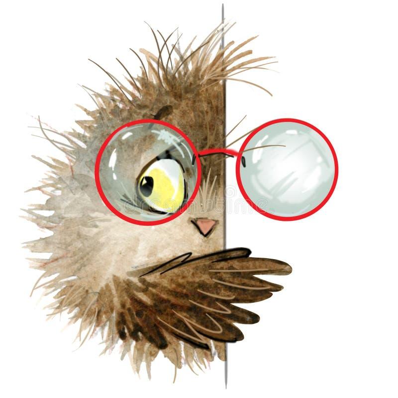 sowa śliczna sowa Szkolna ilustracja Kreskówka ptak ilustracji