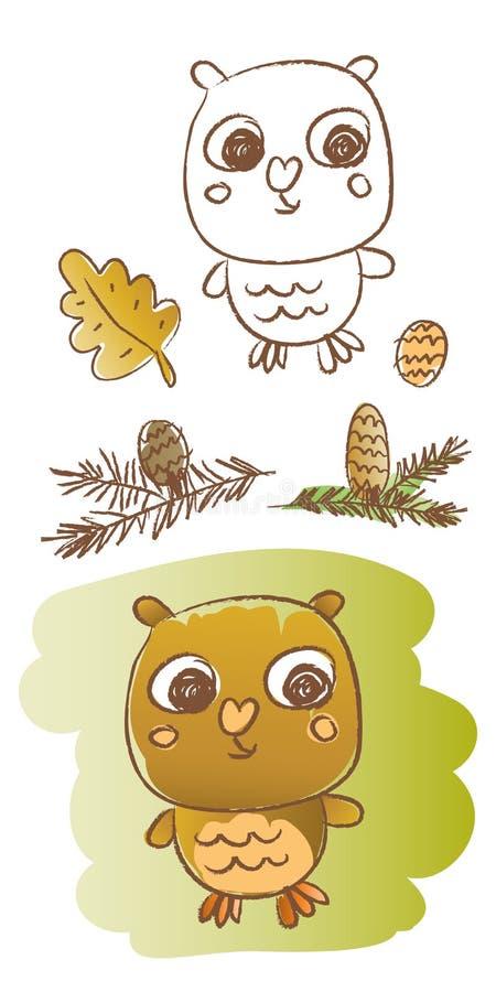 Download Sowa ilustracja wektor. Obraz złożonej z natura, kolorowy - 18284928