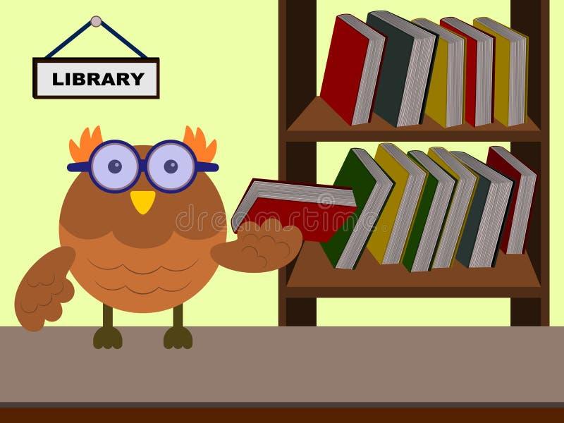 Sowa bibliotekarka royalty ilustracja