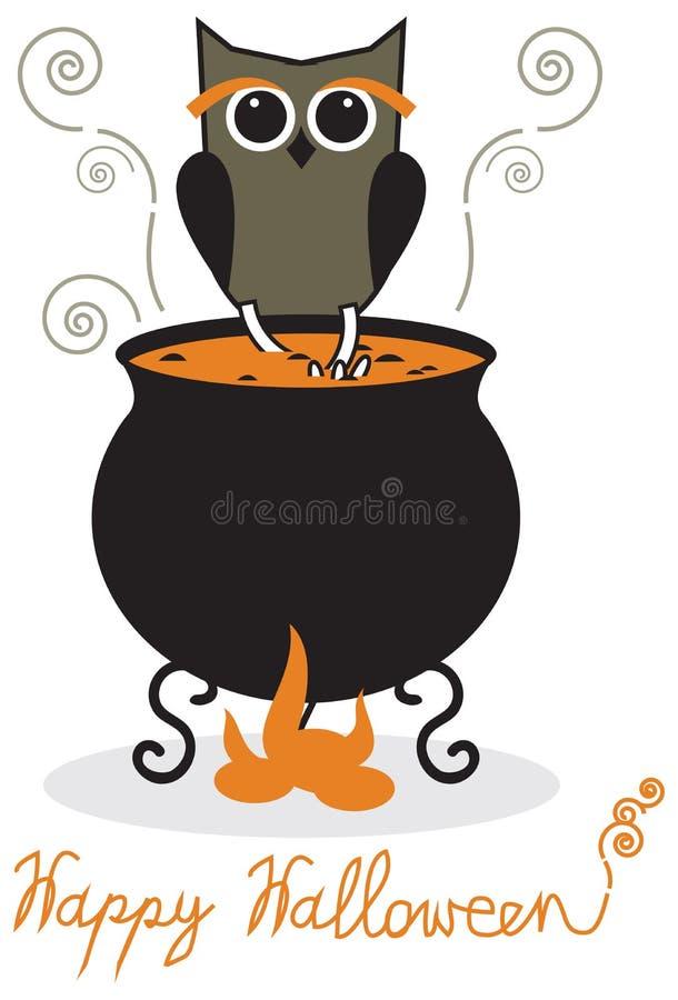 Sowa i kocioł ilustracji