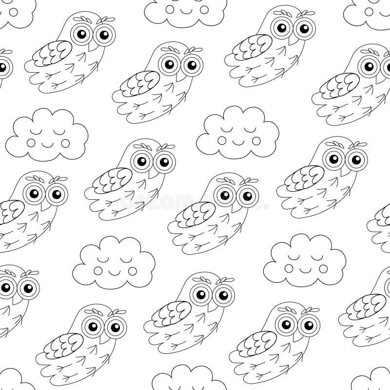 Sowa i sen chmur wektorowy bezszwowy wzór ilustracji