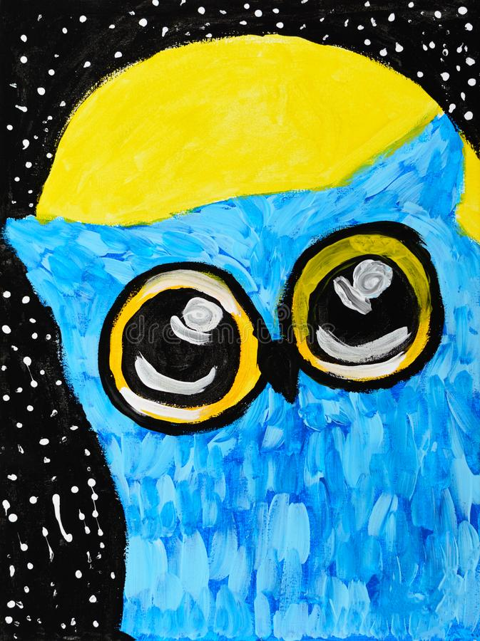 Sowa jest błękitna przeciw tłu czarny niebo z gwiazdami i księżyc ilustracja wektor