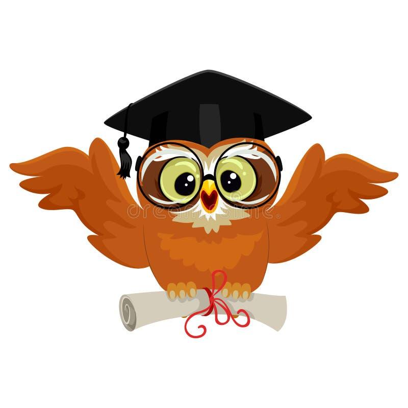 Sowa jest ubranym skalowanie nakrętkę i trzyma dyplom podczas gdy latający royalty ilustracja