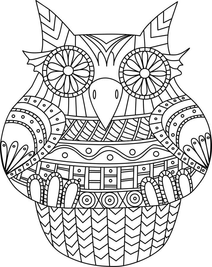 Sowa konturowy wektorowy wizerunek Paskuje plemiennego wzór Kreskówka stylowy ptak dla kolorystyki inny i książki ilustracja wektor