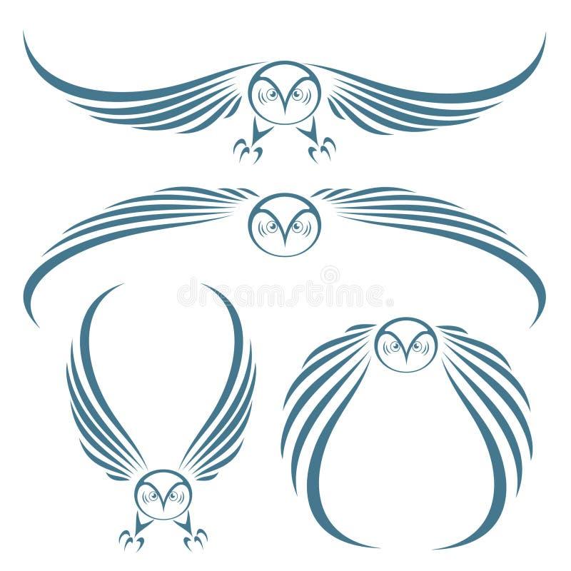 Sowa latający tatuaż ilustracja wektor