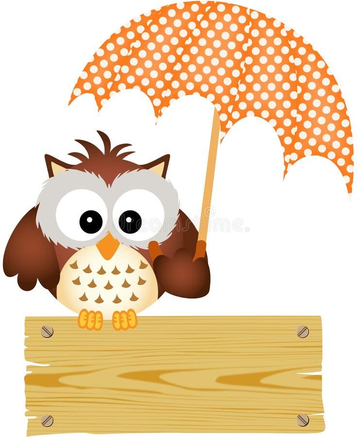 Sowa na drewnianym znaku z parasolem royalty ilustracja