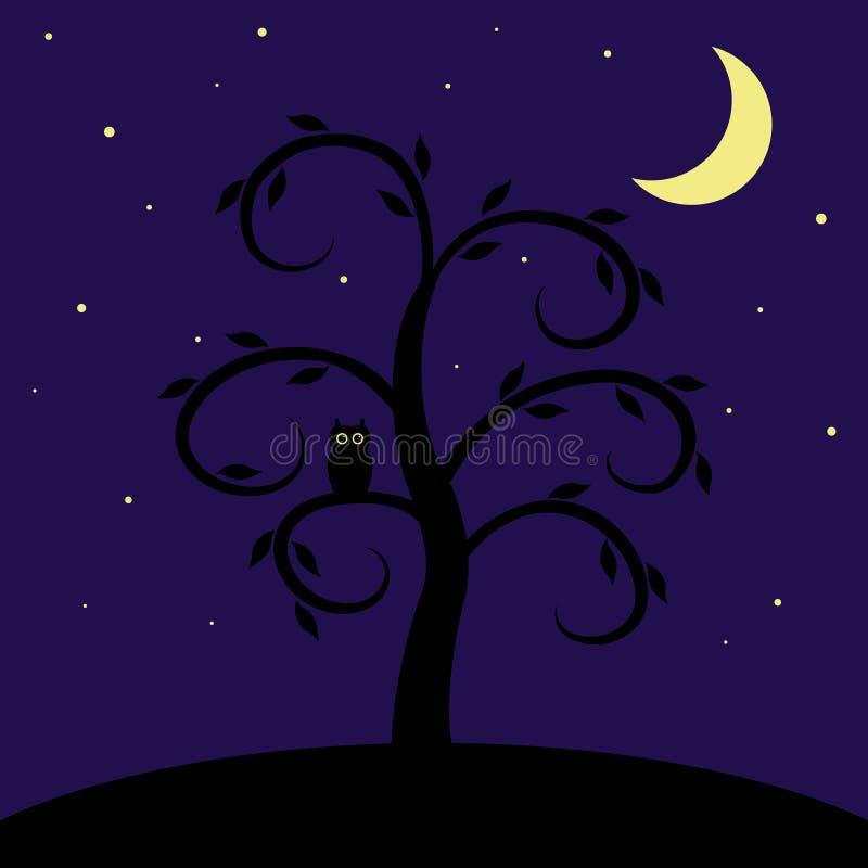 Sowa na drzewie Abstrakcjonistyczny gwiaździstej nocy krajobraz royalty ilustracja