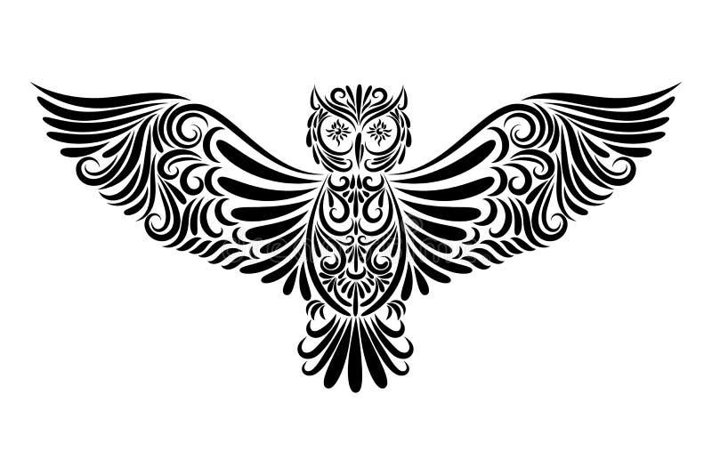 Sowa od czarnego kreskowego ornamentu ilustracja wektor